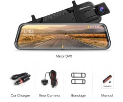 "Dash Cam Dual Recorder Car Camera With 10"" screen, front rear cam"