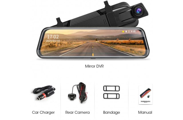 """Dash Cam Dual Recorder Car Camera With 10"""" screen, front rear cam"""