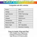 Litebo LED Headlight bulbs H1, H3, H7, H8, H9, H10, H11, 9005, 9006, 880 ,H16(5202), 9012, H4(9003), 9004, 9007, H13(9008) 12,000Lumens Super Bright 6500K fog light